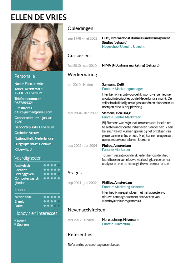 cv voorbeeld layout Curriculum Vitae Example Nederlands | plks.tk